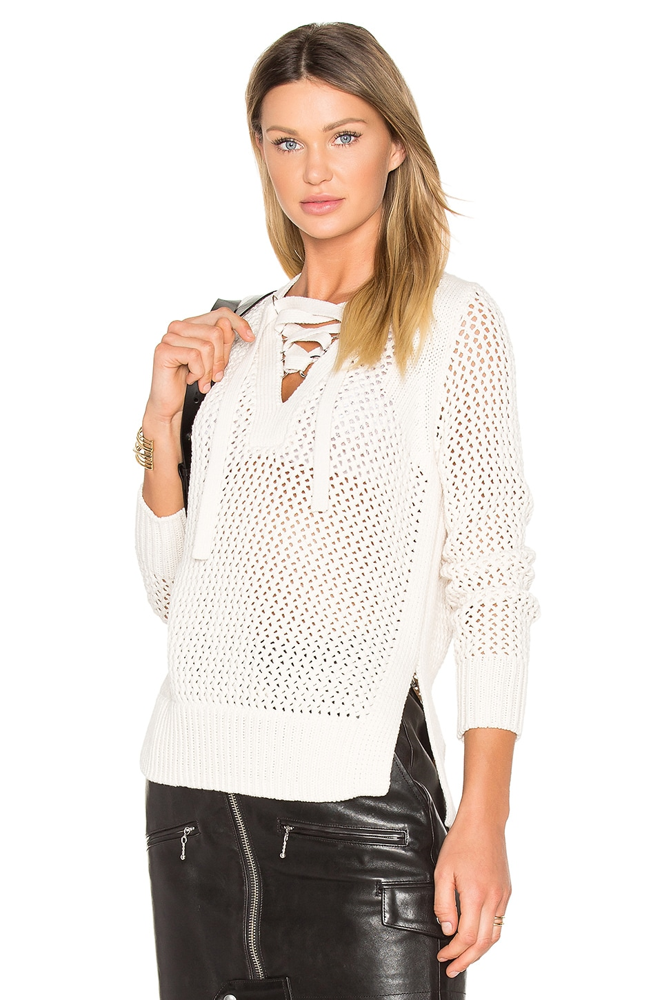DEREK LAM 10 CROSBY Lace Up V Neck Sweater in Natural