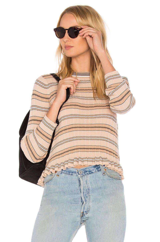 Sheer Striped Crewneck Sweater