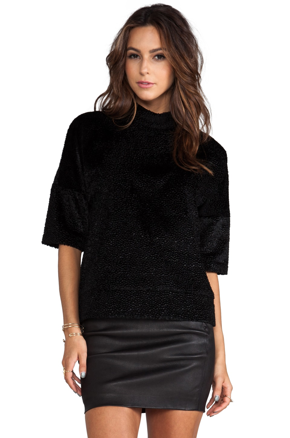 DEREK LAM 10 CROSBY Velvet Oversized Sweater in Black