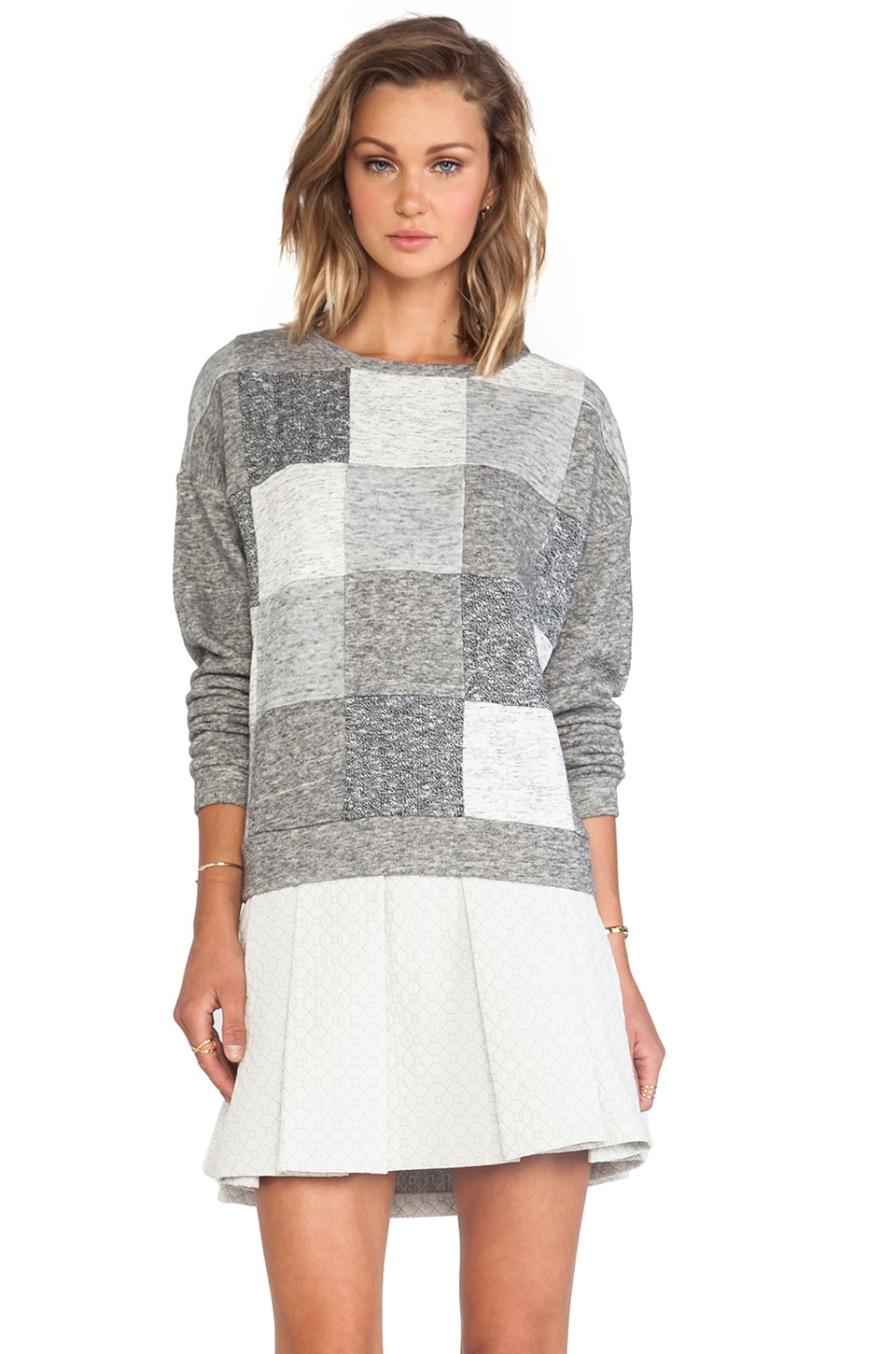 DEREK LAM 10 CROSBY Zip Back Sweatshirt in Grey Combo