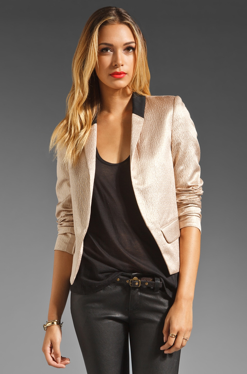 DEREK LAM 10 CROSBY Metallic Shawl Collar Jacket in Nude