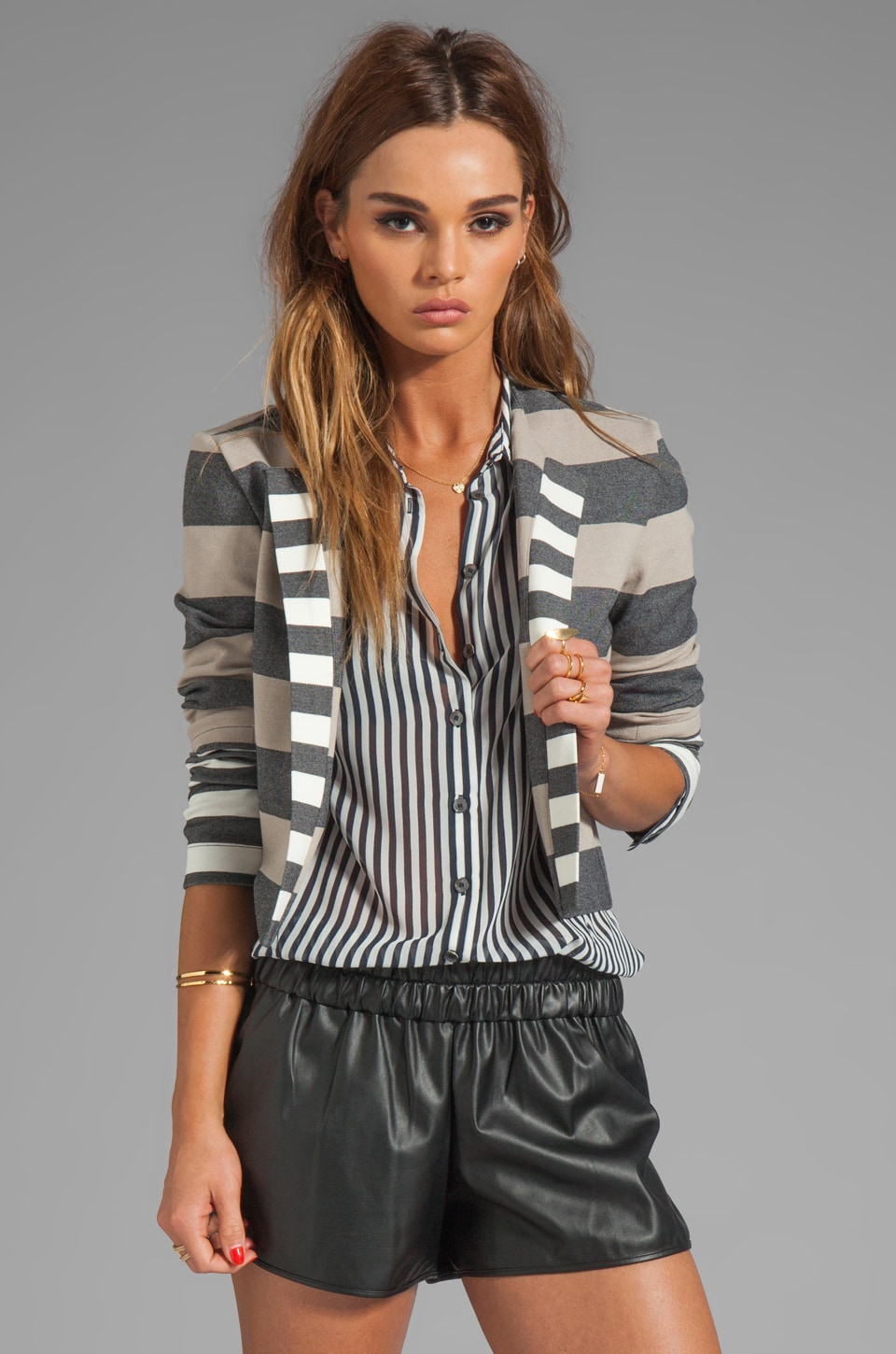 DEREK LAM 10 CROSBY RUNWAY Cardigan Jacket in Combo Stripe