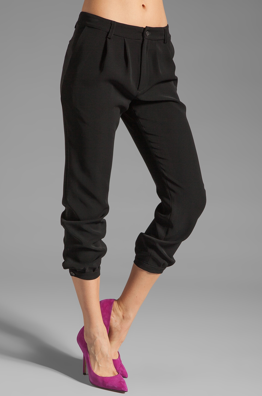 DEREK LAM 10 CROSBY Cinched Ankle Pant in Black