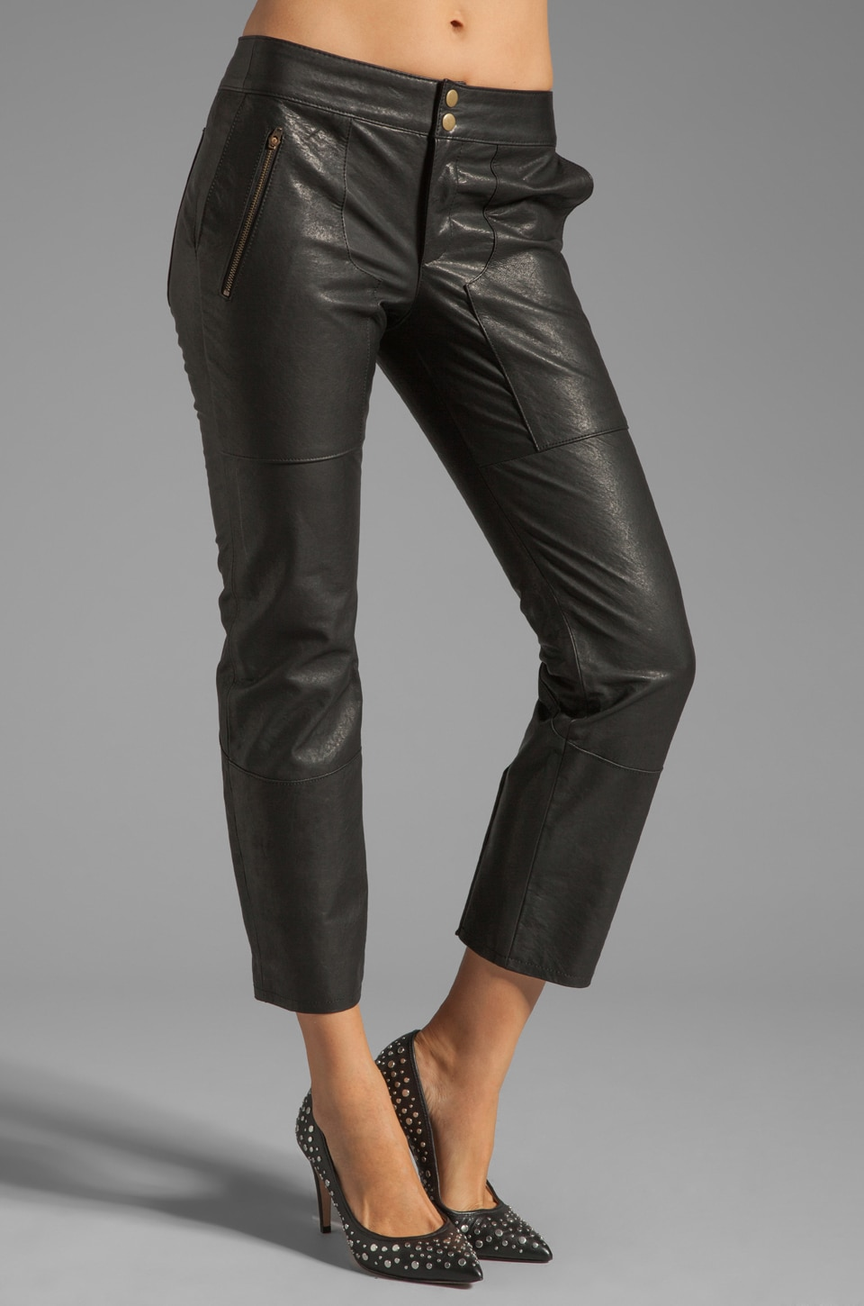 DEREK LAM 10 CROSBY Slim Leather Pant with Lacing in Black
