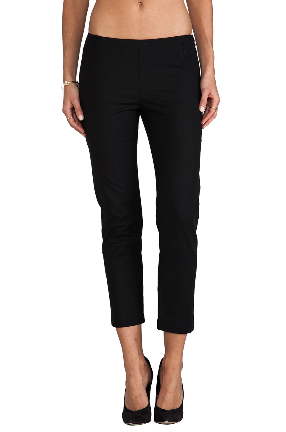 DEREK LAM 10 CROSBY Side Zip Skinny Pant in Black