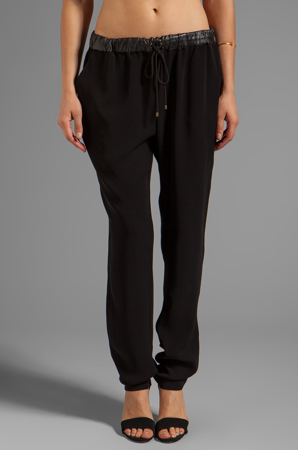 DEREK LAM 10 CROSBY Drawstring Pant in Black