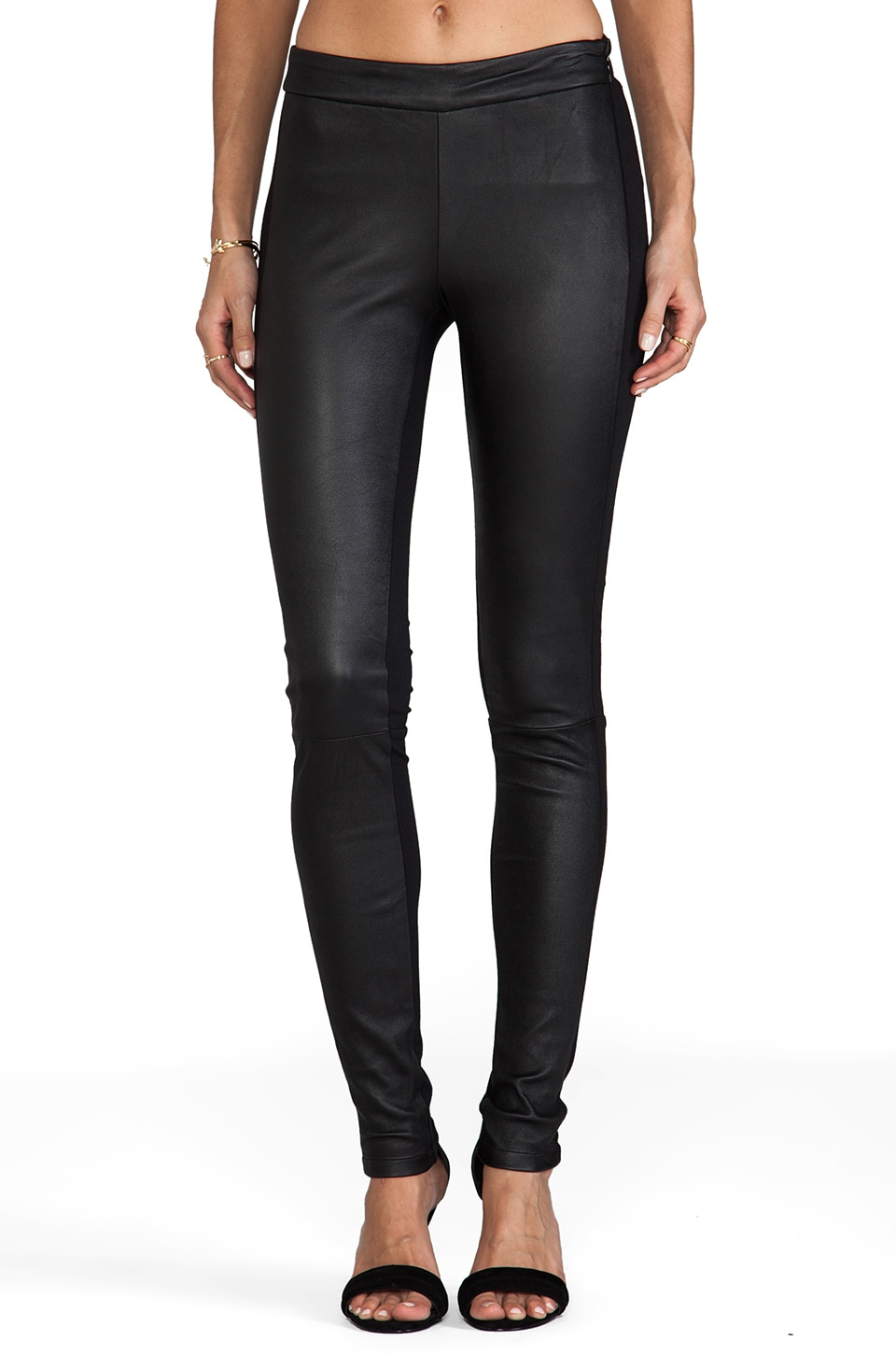 DEREK LAM 10 CROSBY Front Leather Panel Legging in Black