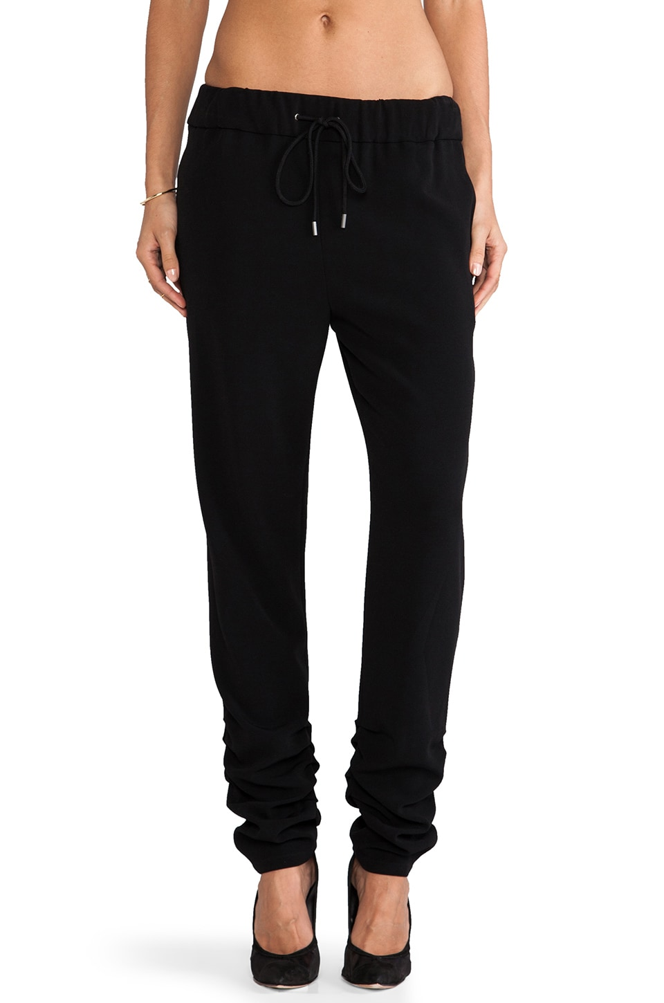 DEREK LAM 10 CROSBY Ruched Ankle Track Pant in Black