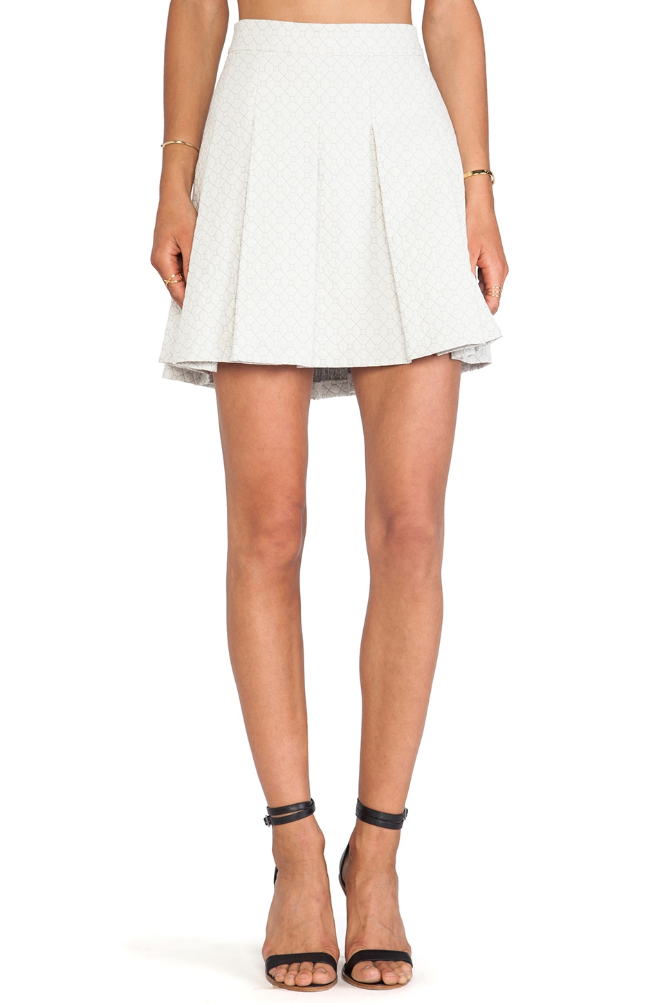 DEREK LAM 10 CROSBY Box Pleat Short Skirt in Ivory