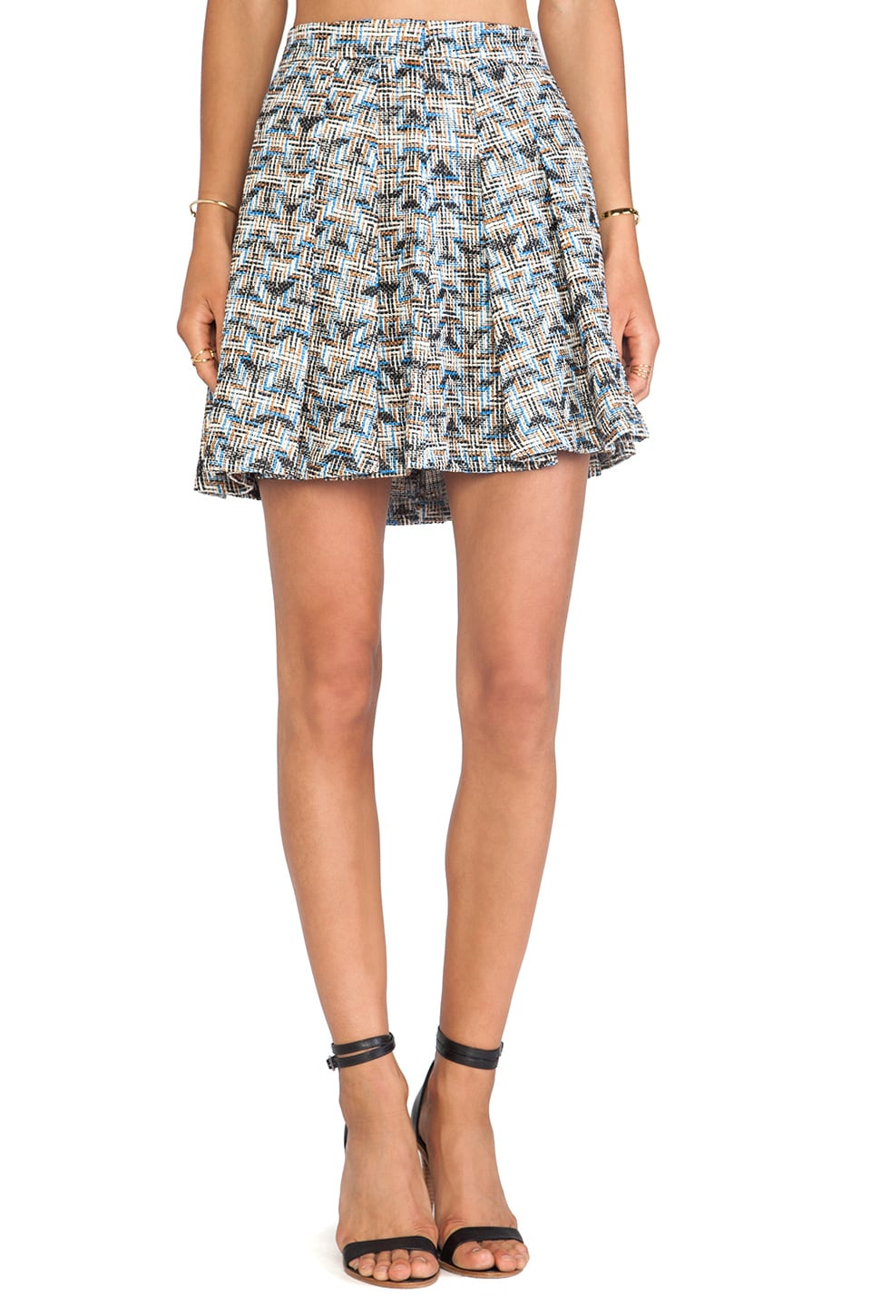 DEREK LAM 10 CROSBY Box Pleat Short Skirt in Blue Combo