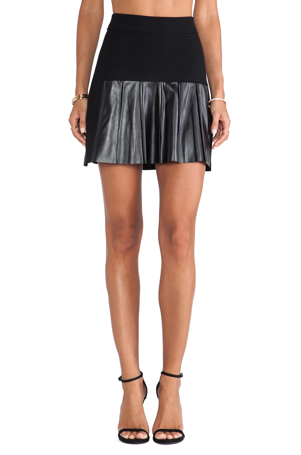 DEREK LAM 10 CROSBY Leather Pleats Skirt in Black