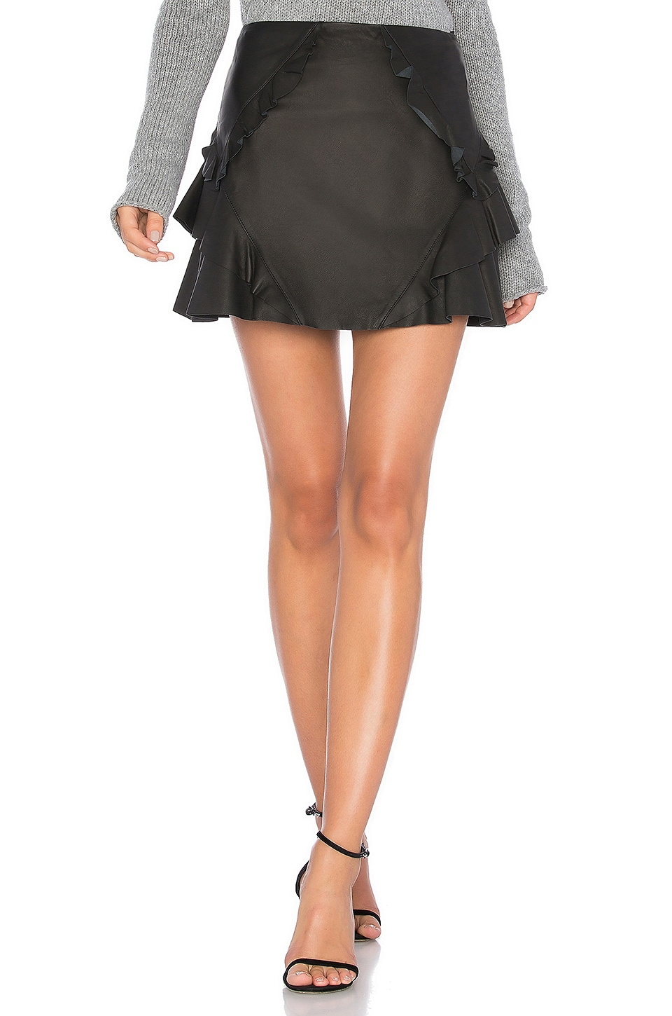 picked up united states finest fabrics Ruffle Leather Mini Skirt