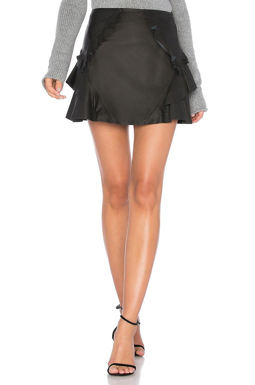 Ruffle Leather Mini Skirt