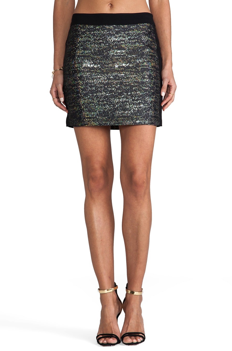 DEREK LAM 10 CROSBY Digital Jacquard Mini Skirt in Black