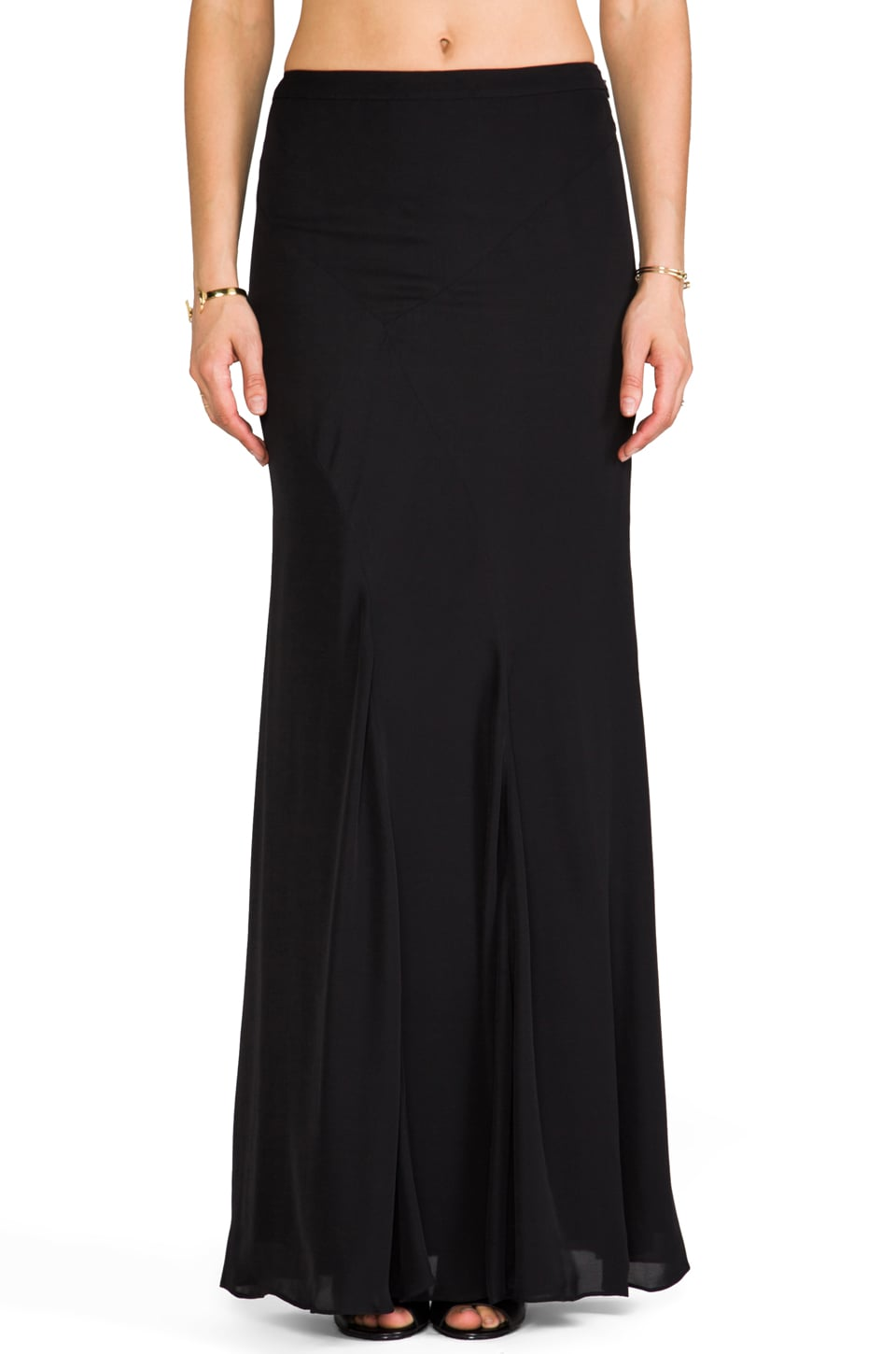 DEREK LAM 10 CROSBY Seam Detail Maxi Skirt in Black