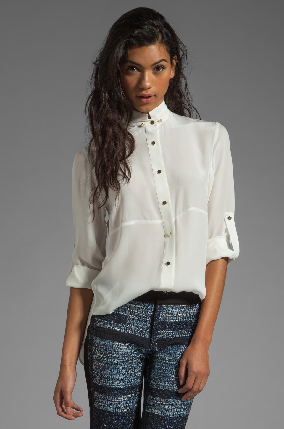 DEREK LAM 10 CROSBY Double Collar Shirt in Ivory/White