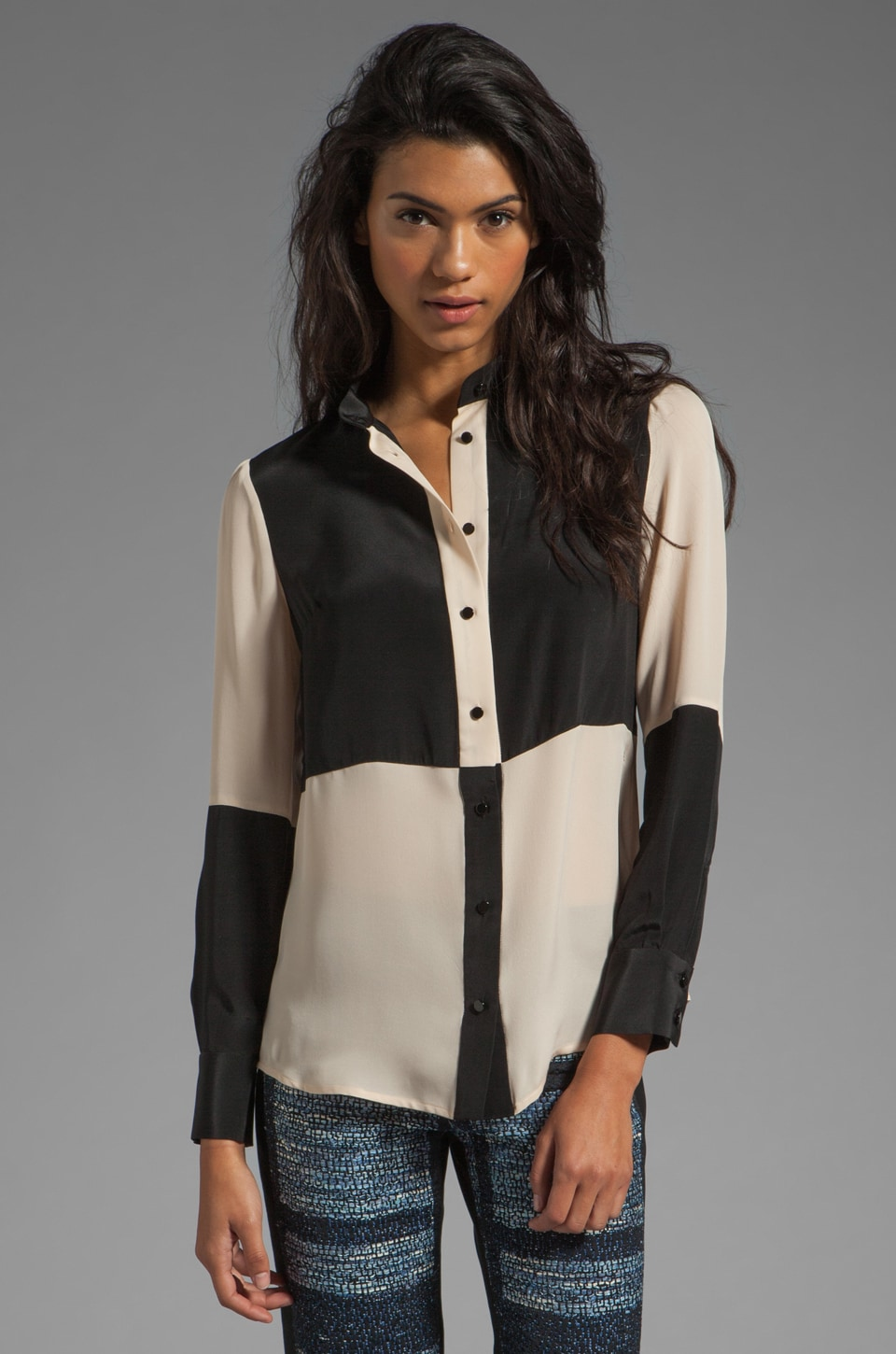 DEREK LAM 10 CROSBY Mandarin Collar Shirt in Black/Nude