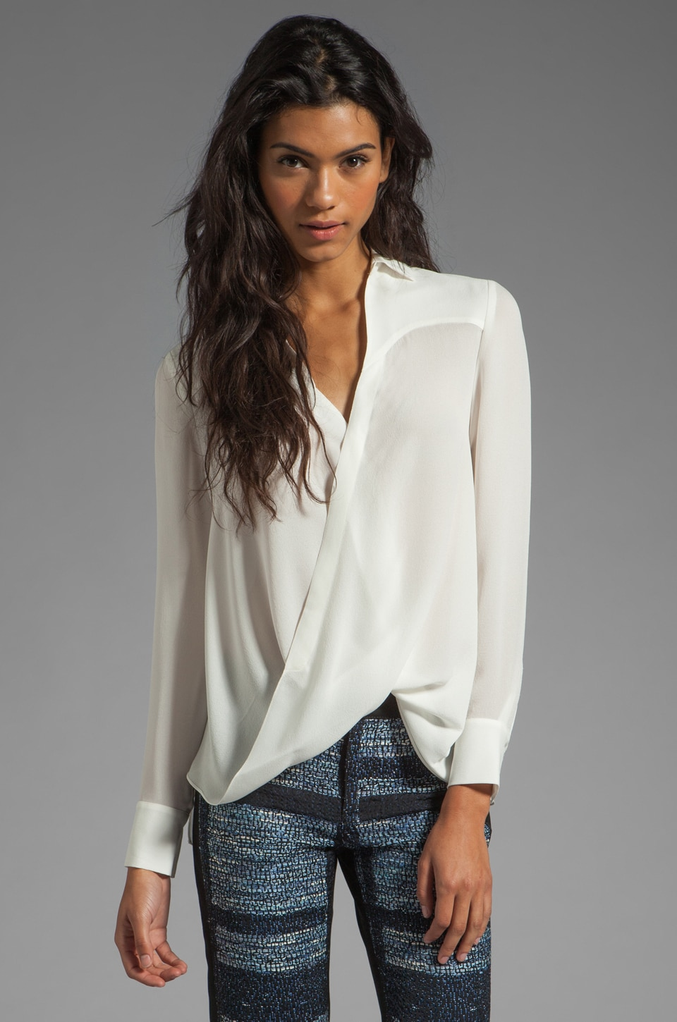 DEREK LAM 10 CROSBY Draped Front Blouse in White