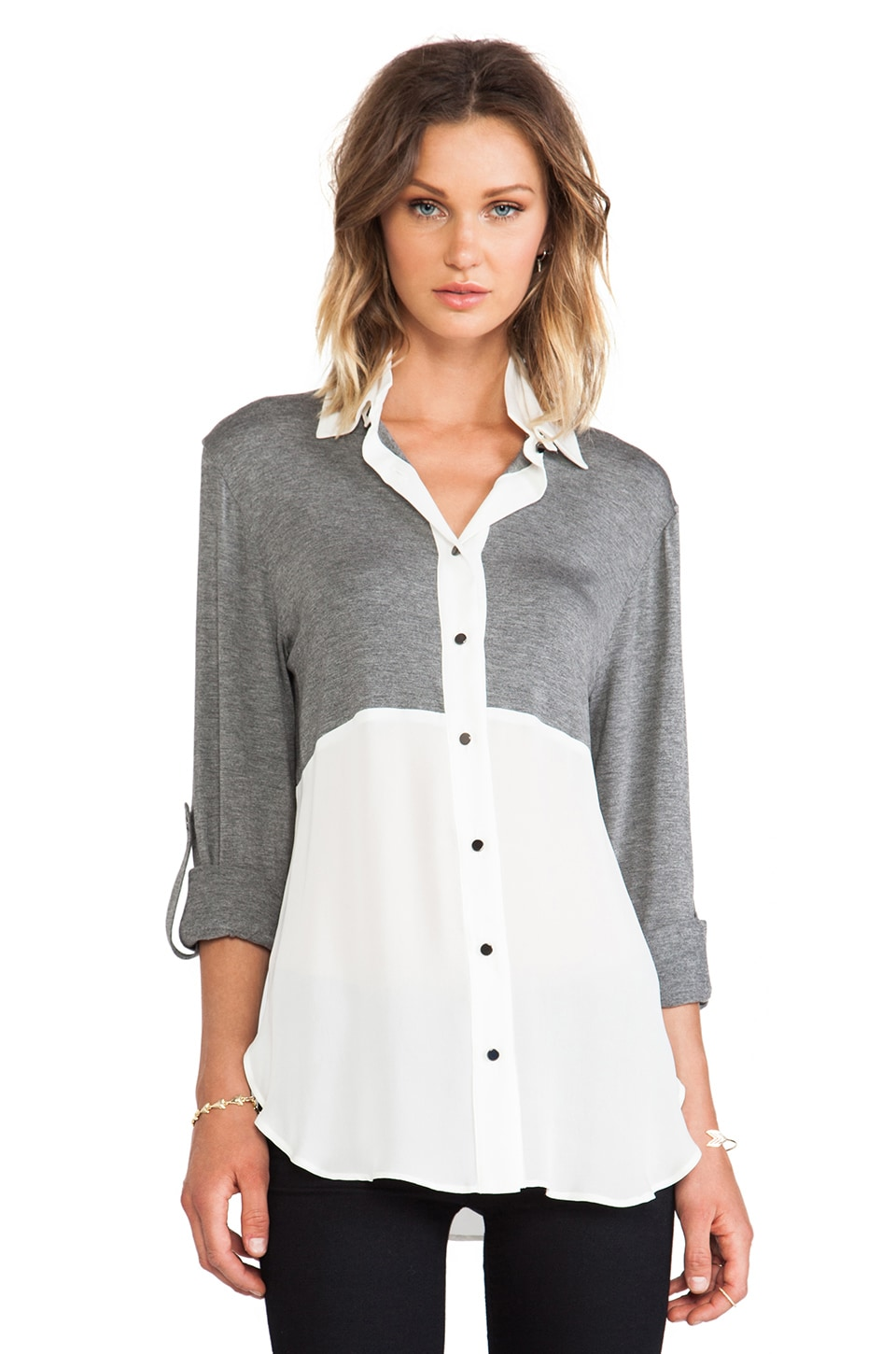 DEREK LAM 10 CROSBY Double Collar Shirt in Grey Melange/White