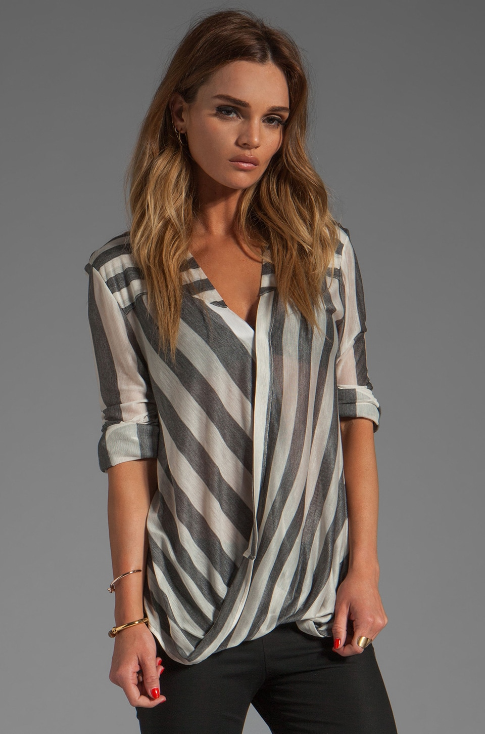 DEREK LAM 10 CROSBY Drape Front Blouse in Grey Stripe