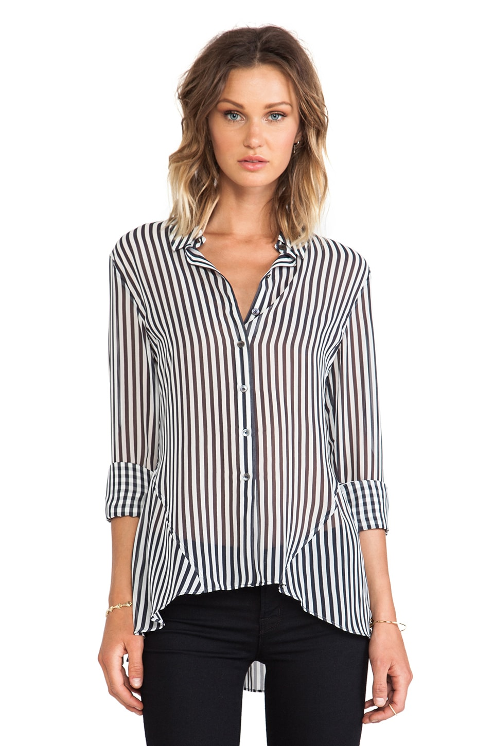 DEREK LAM 10 CROSBY RUNWAY Godets Blouse in Midnight/White