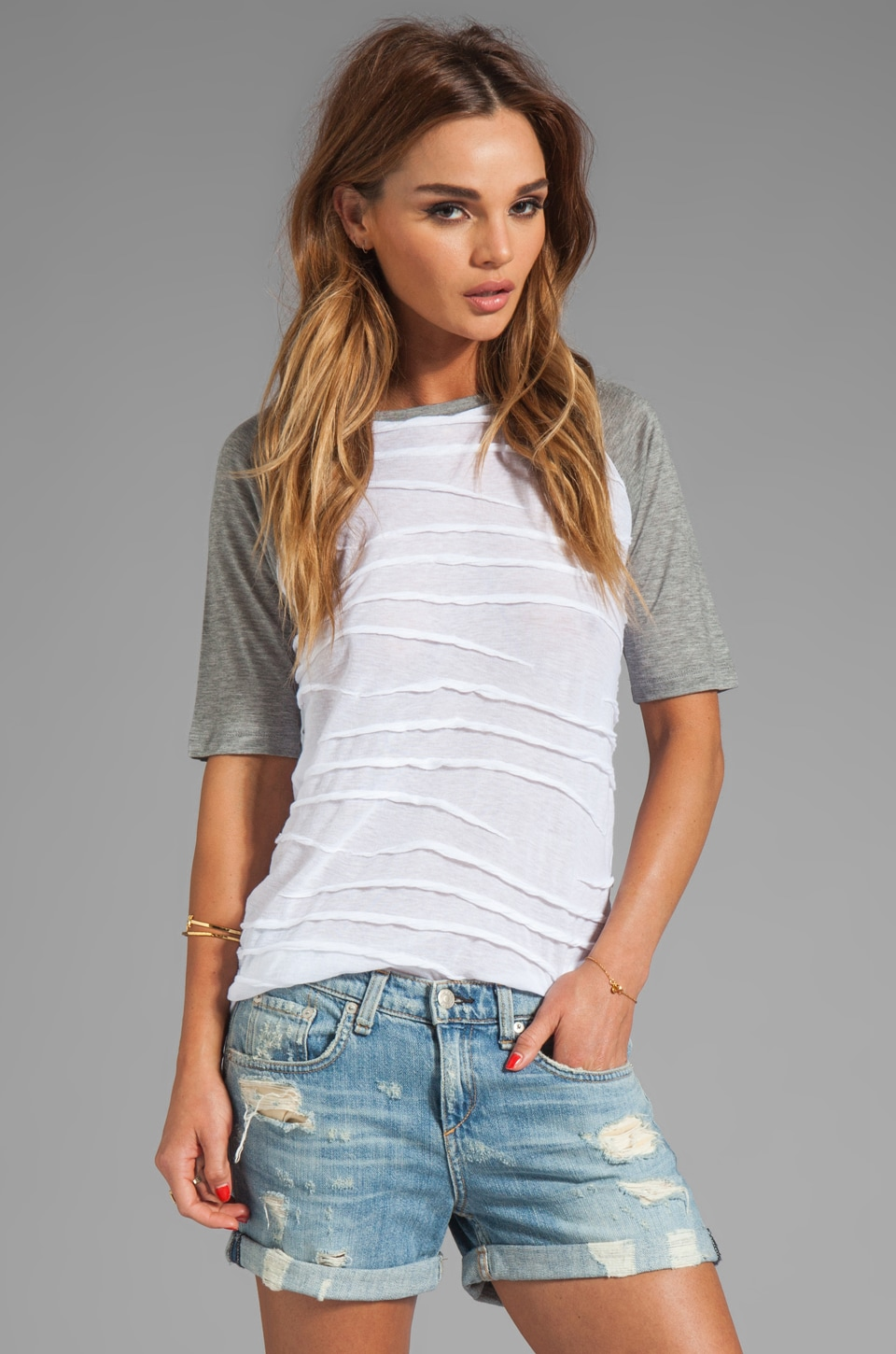 DEREK LAM 10 CROSBY Short Sleeve Top in White/Grey Melange