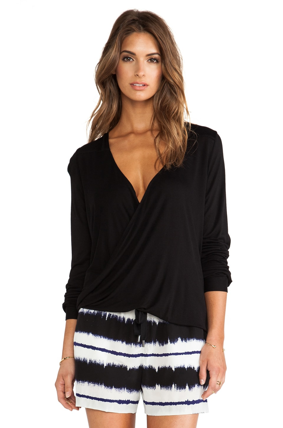 DEREK LAM 10 CROSBY Draped Front Tee in Black