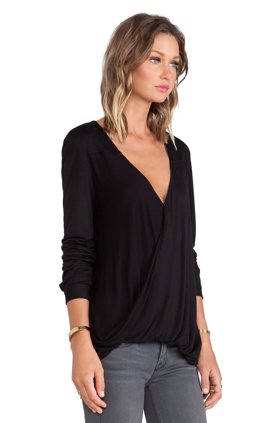 DEREK LAM 10 CROSBY Long Sleeve Wrap Front Blouse in Black | REVOLVE