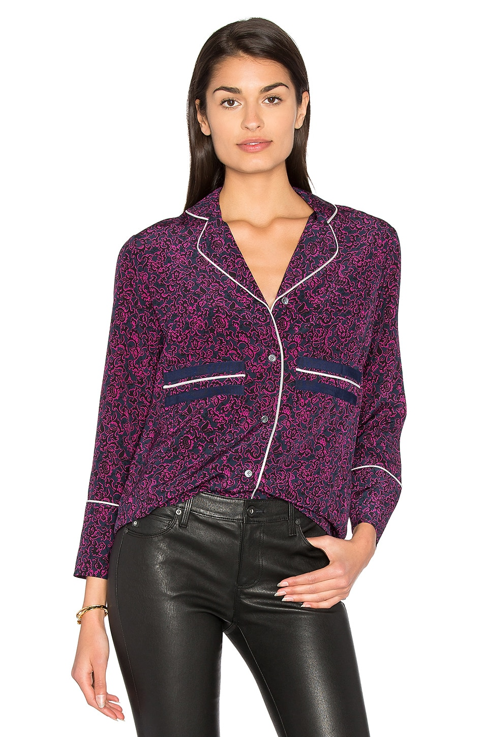 DEREK LAM 10 CROSBY Pajama Blouse in Midnight Multi