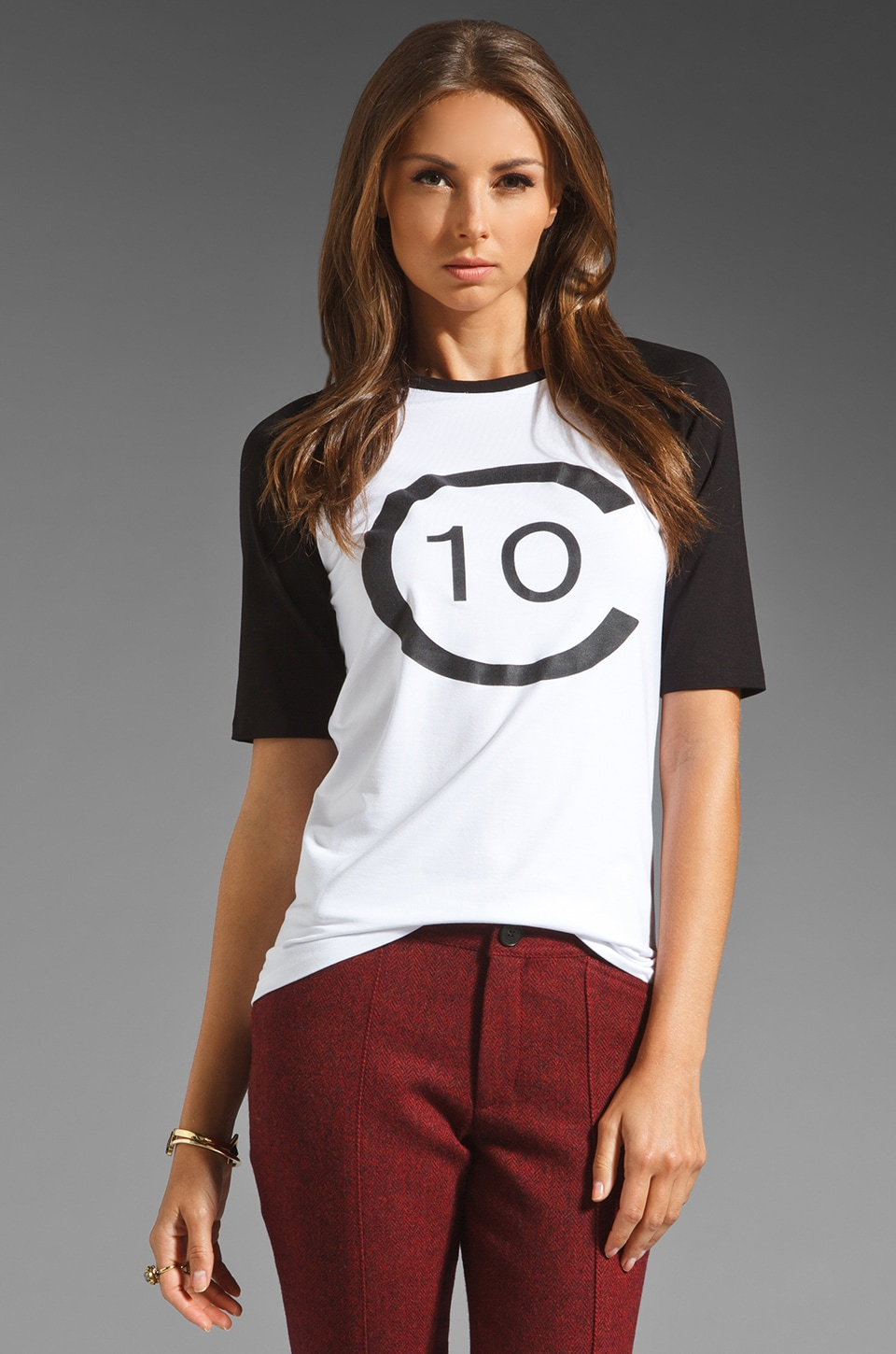 DEREK LAM 10 CROSBY Logo Tee in White/Black