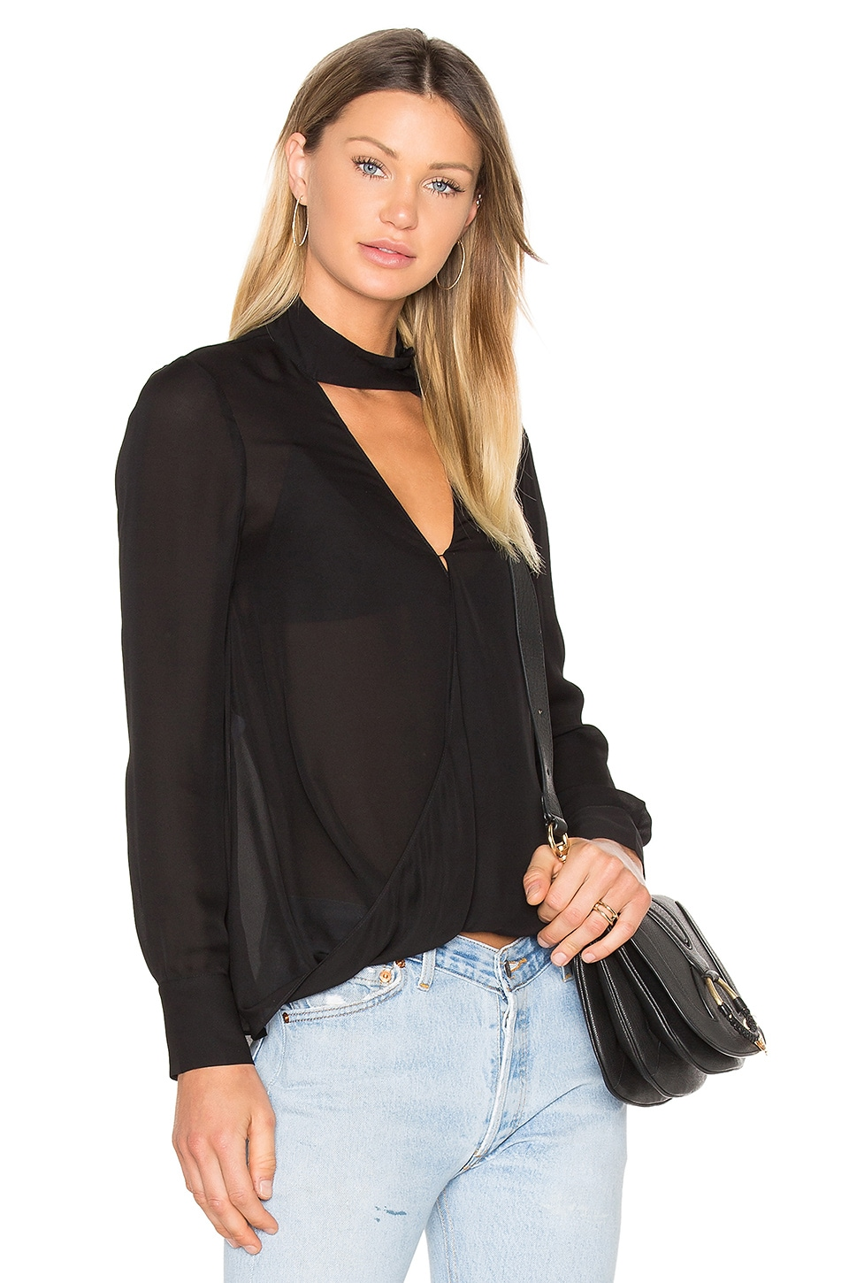 Long Sleeve Drape Front Collar Detail Blouse by Derek Lam 10 Crosby