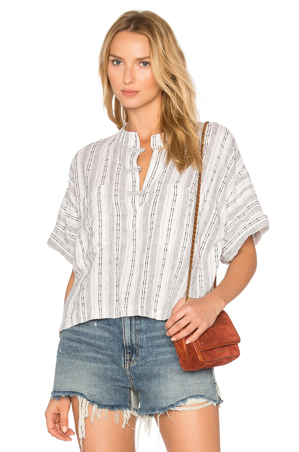 Collarless Henley Shirt by Derek Lam 10 Crosby