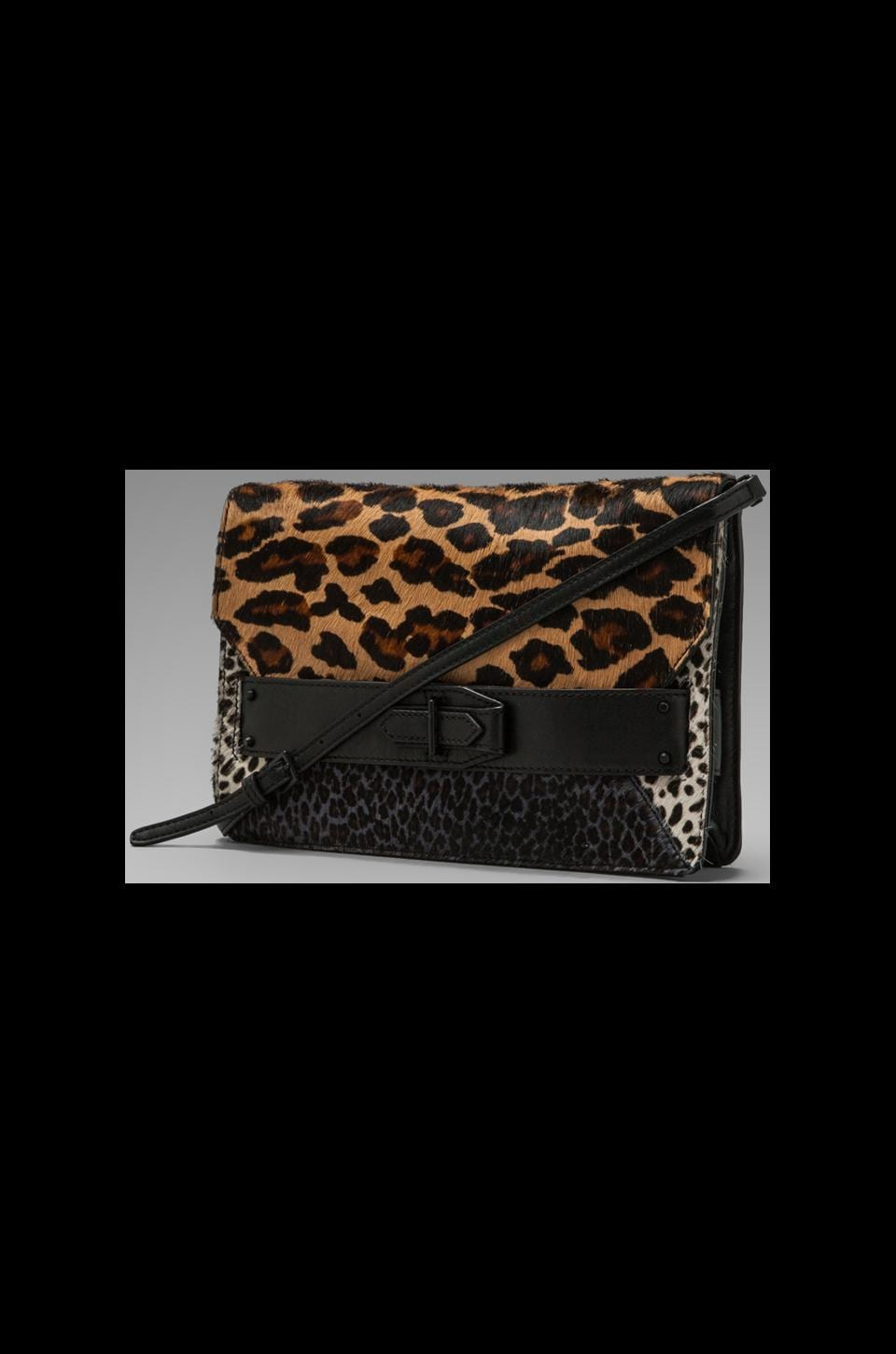 DEREK LAM 10 CROSBY Mixed Leopard Print Folio Clutch in Camel Multi