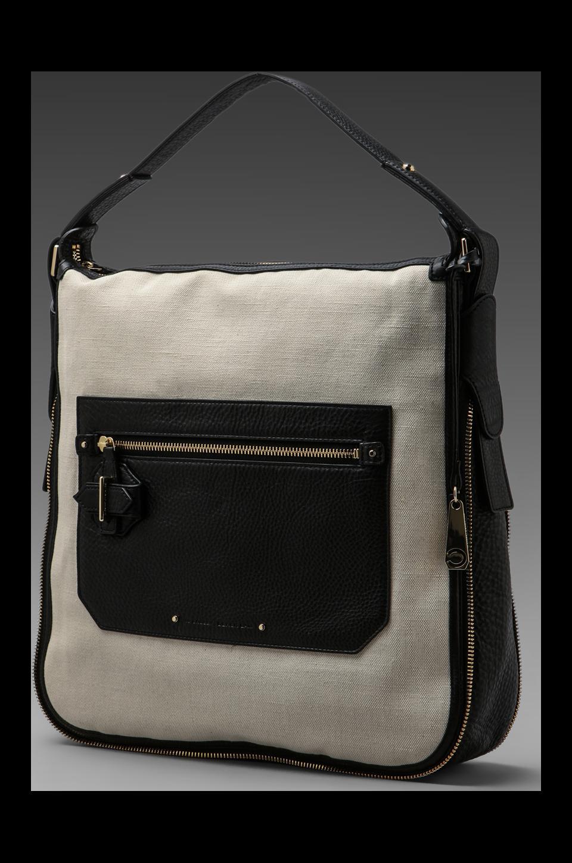 DEREK LAM 10 CROSBY Canvas & Leather Crosby Bag in Chalk
