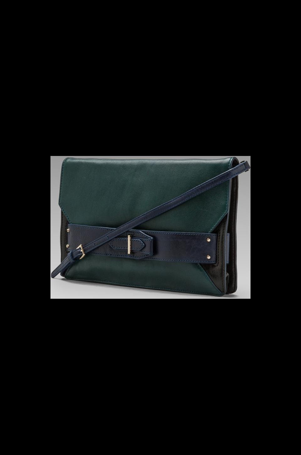 DEREK LAM 10 CROSBY Colorblock Folio Clutch in Petrol/Navy/Black