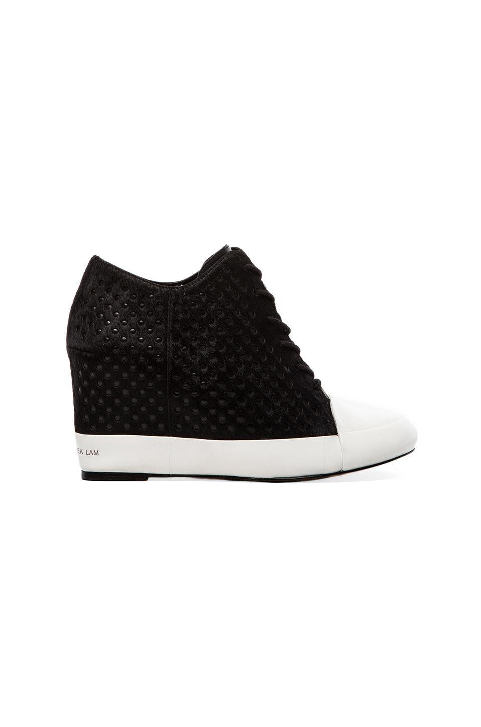 DEREK LAM 10 CROSBY Meryl Sneaker Wedge with Calf Fur in Black