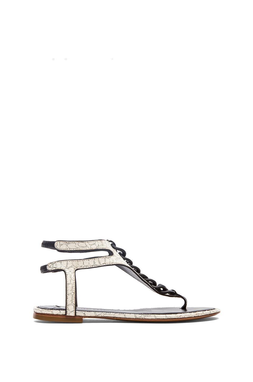 DEREK LAM 10 CROSBY Damast Sandal in White Croco Snake Print