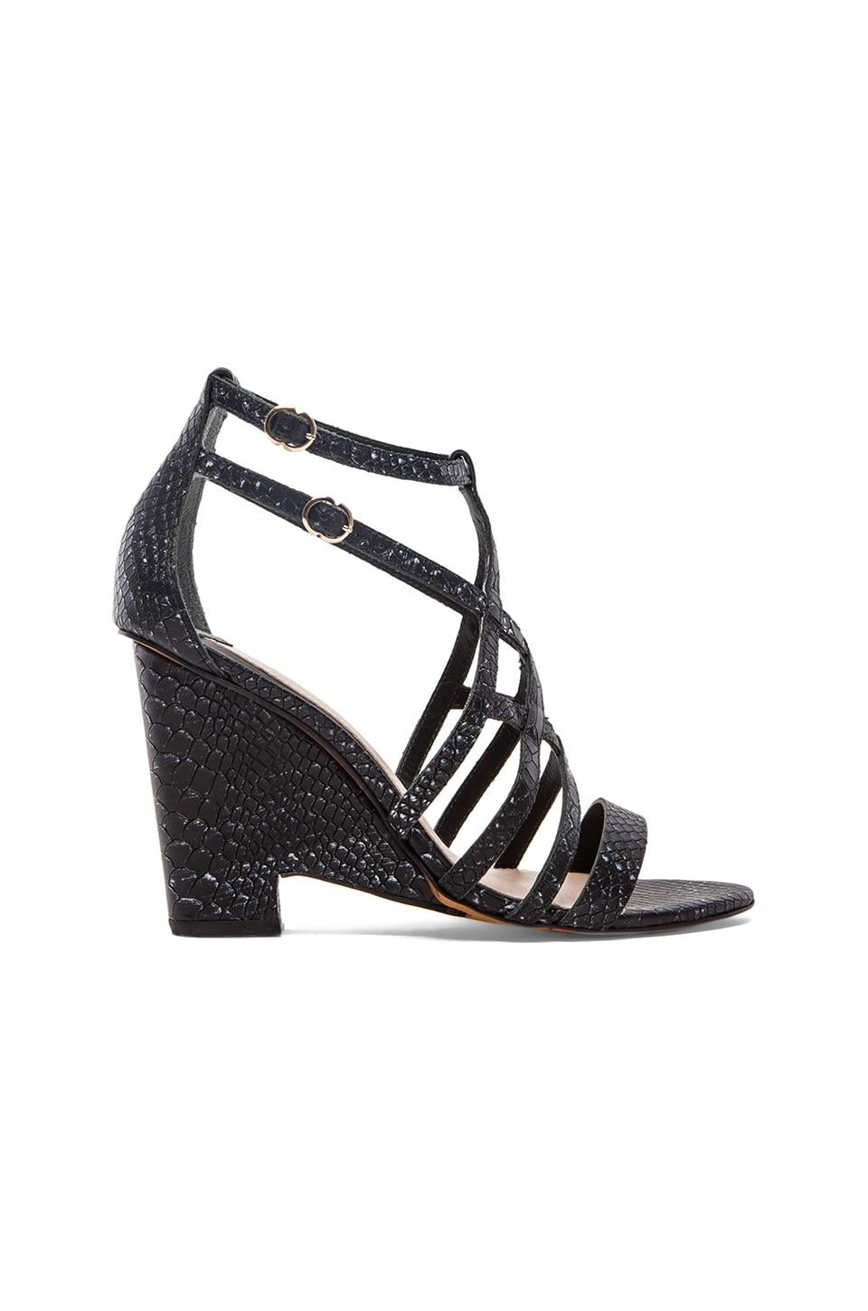 DEREK LAM 10 CROSBY Zanzibar Heel in Black & White Tribal Snake