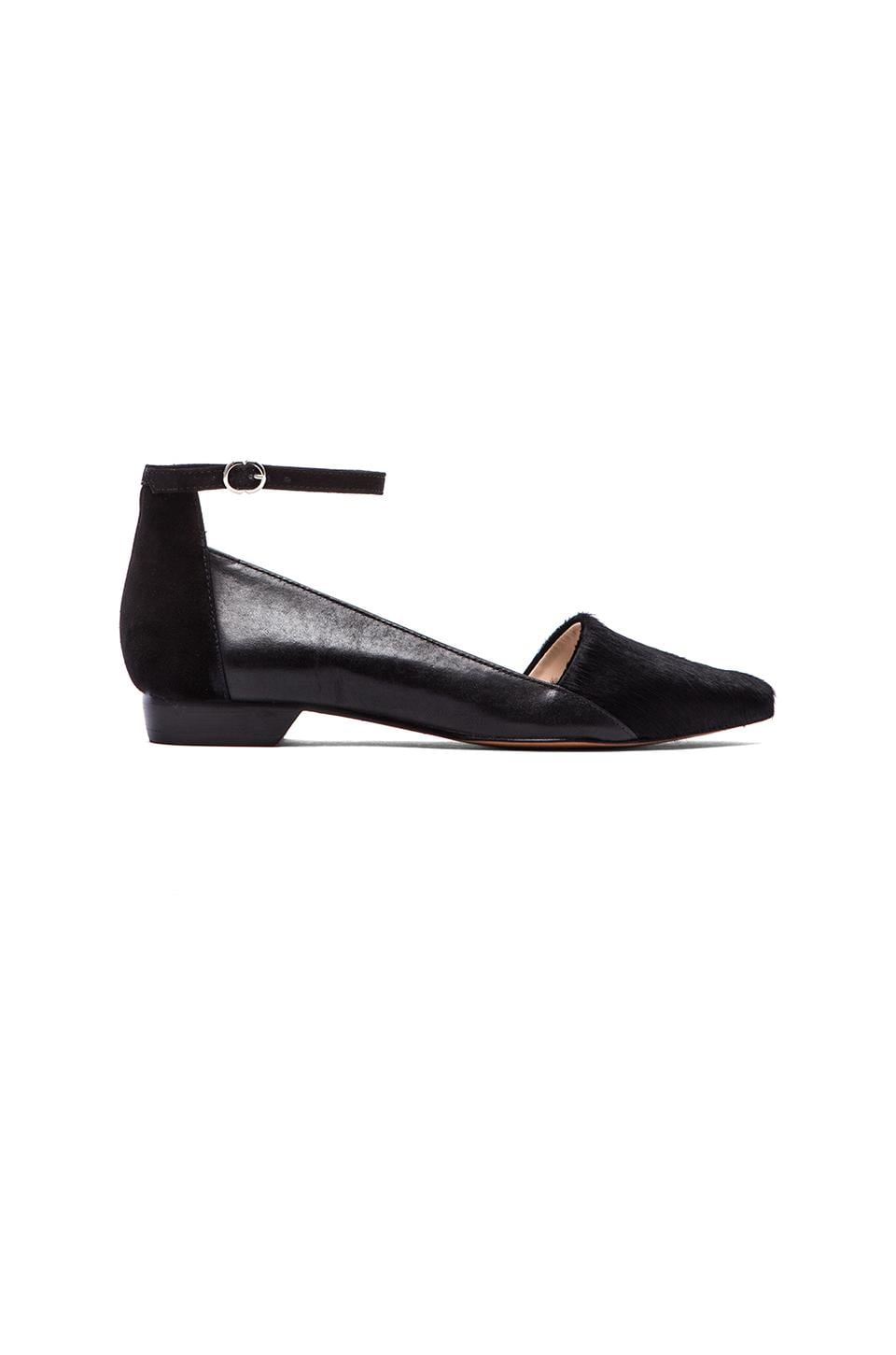 DEREK LAM 10 CROSBY Avery Flat with Calf Fur in Black Haircalf