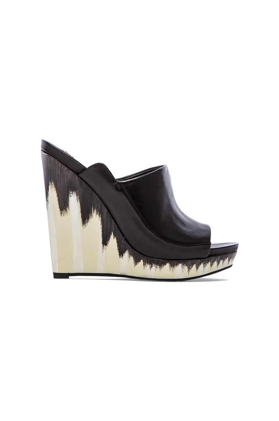 DEREK LAM 10 CROSBY Glinda Wedge in Black Leather