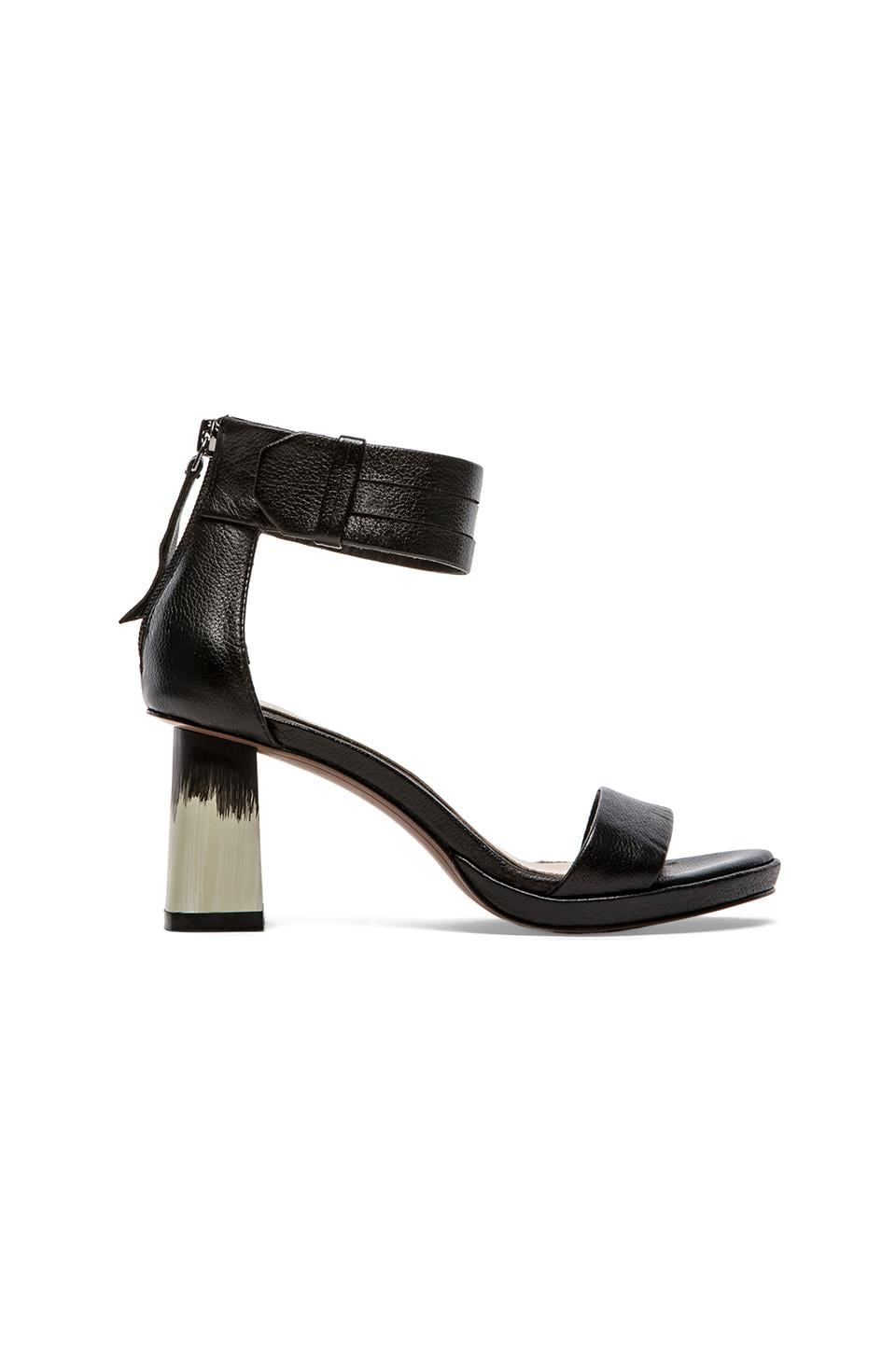 DEREK LAM 10 CROSBY Marcel Sandal in Black Tumbled Leather
