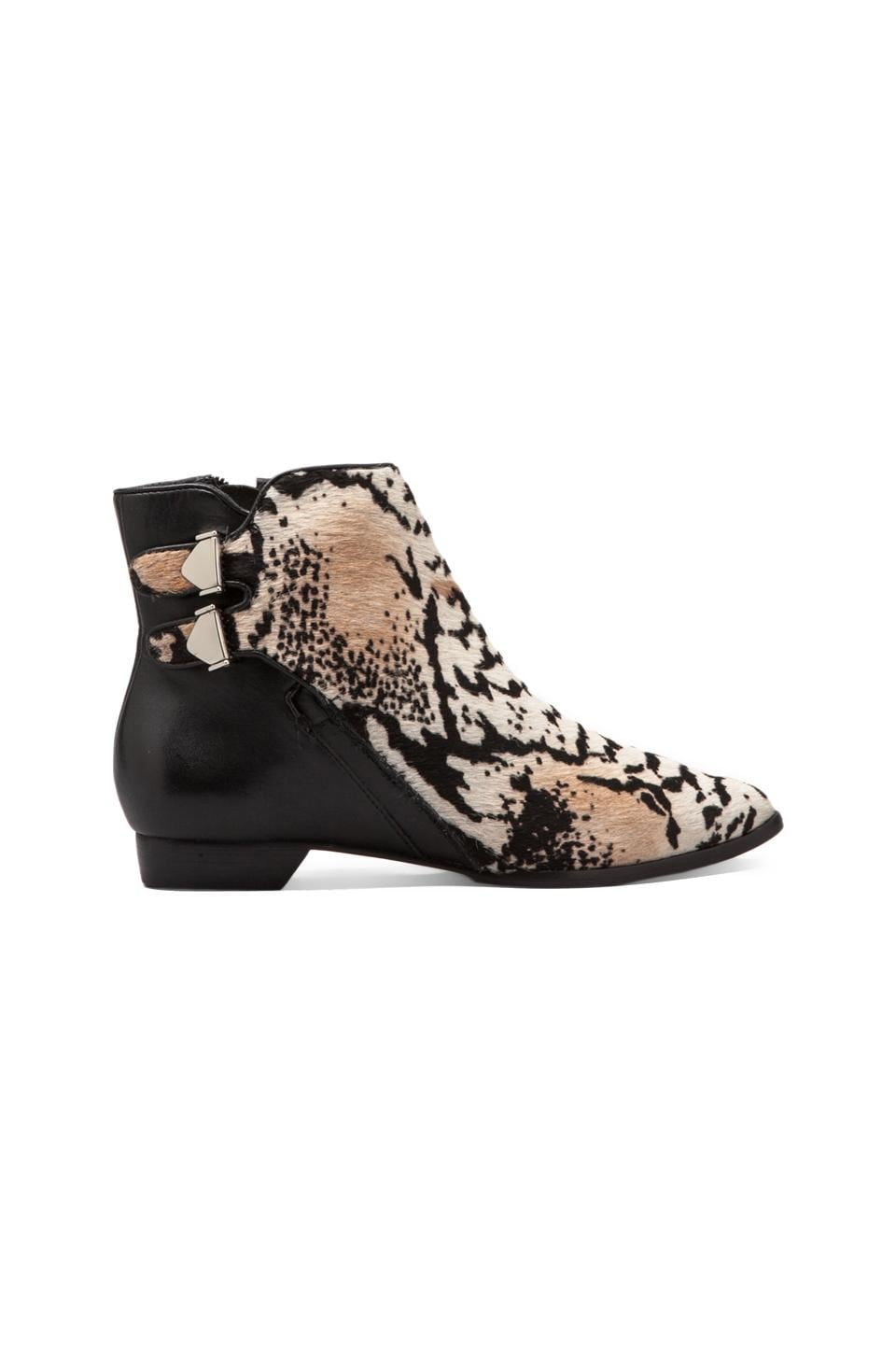 DEREK LAM 10 CROSBY Annabell Haircalf Leather Bootie in Grey Snake Print/Black