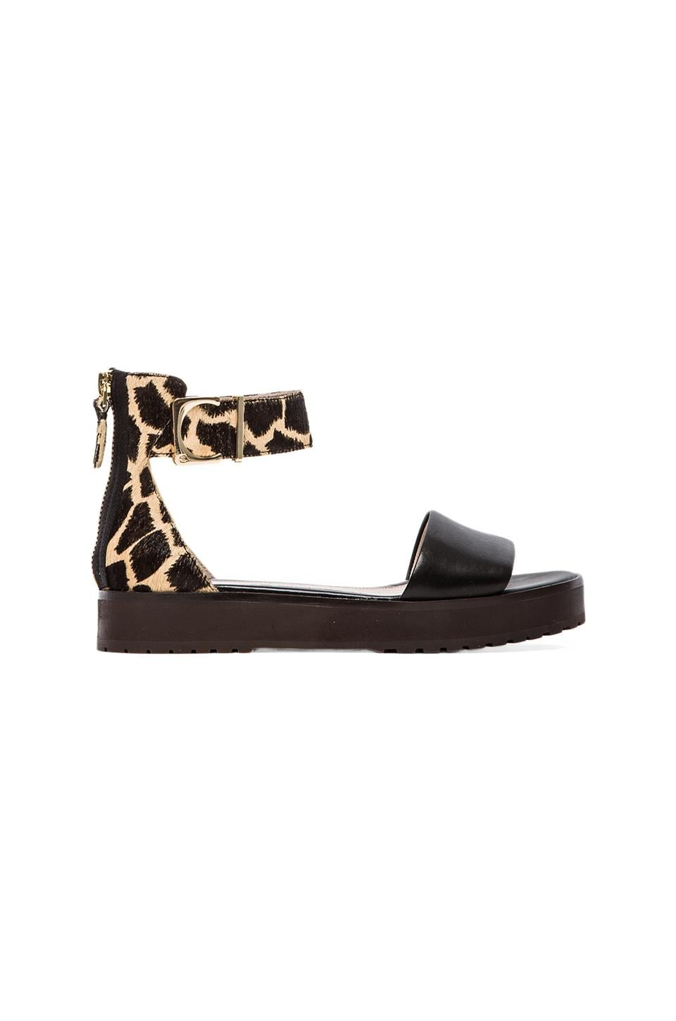 DEREK LAM 10 CROSBY Dyls Sandal with Calf hair in Black