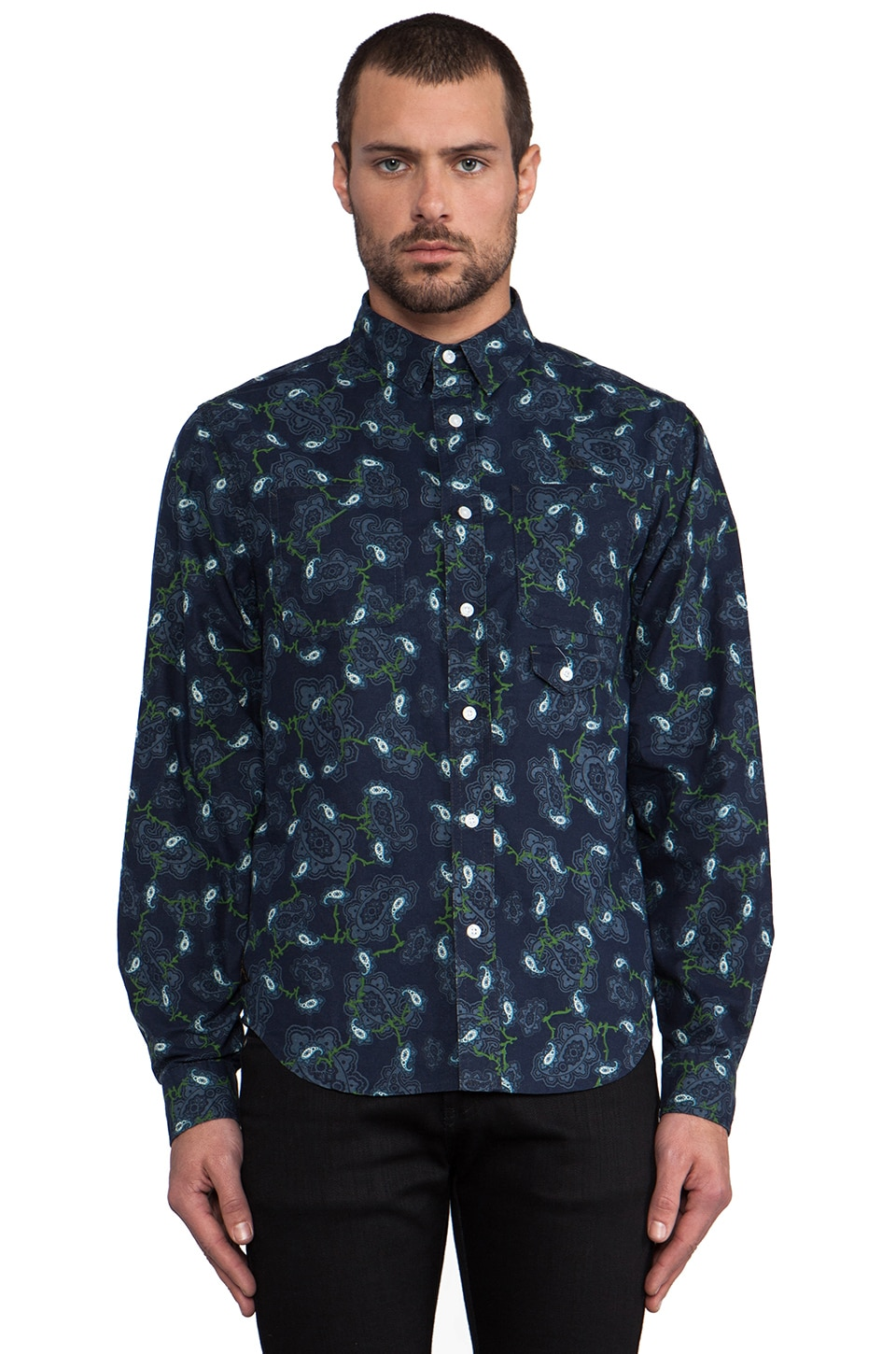 10 Deep Division Button Down in Navy Paisley