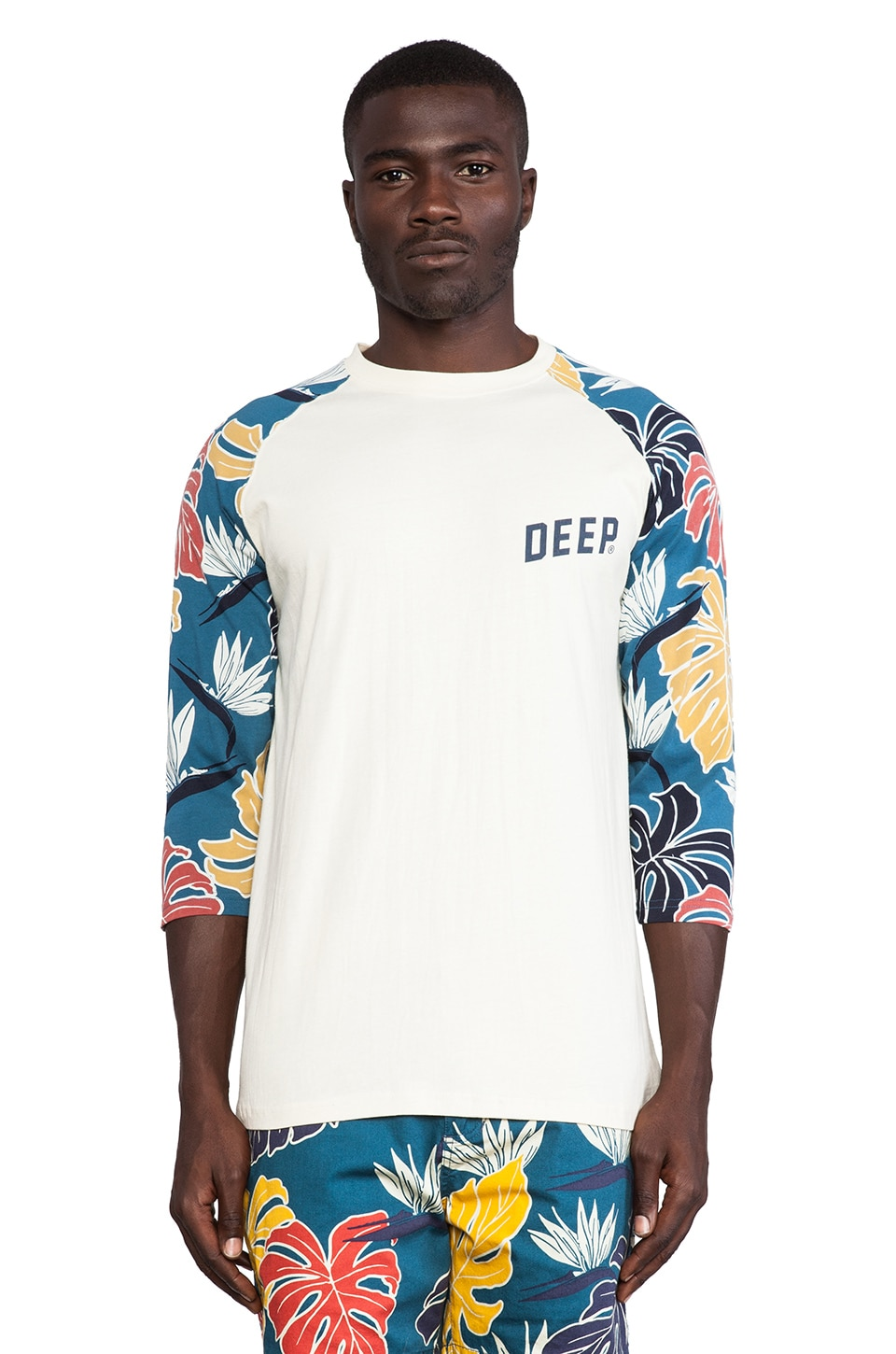 10 Deep Birds of Paradise 3/4 Sleeve Tee in Natural