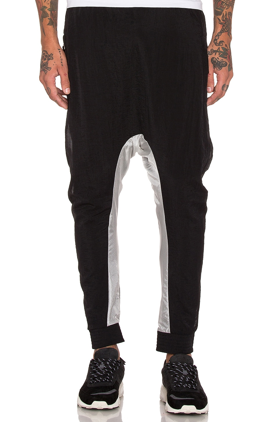 11 by Boris Bidjan Saberi Drop Crotch Pant in Black & Transparent
