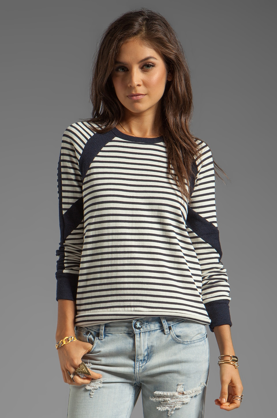 19 4t Crew Skinny Panel Pullover in Cream/Navy Stripe