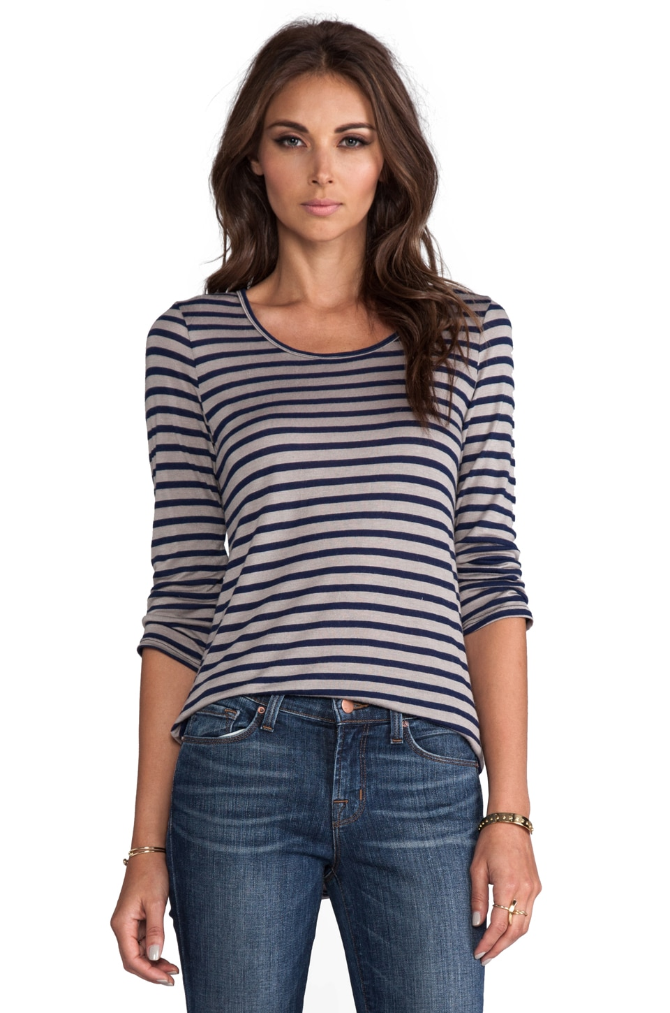 19 4t 3/4 Sleeve T-Shirt in Grey/Navy Stripe
