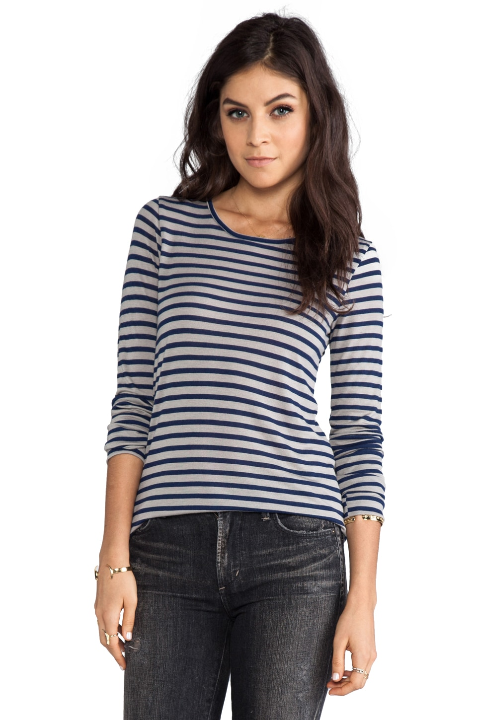 19 4t T-shirt Manches Longues en Grey/Navy Stripe