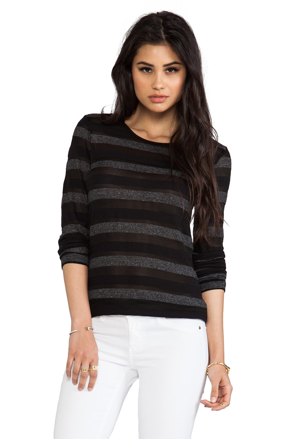 19 4t Long Sleeve T-Shirt in Black Stripe